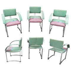 Saporiti Italia Set of 6 Chromed Steel Armchairs