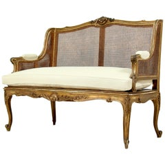 French Louis XV-Style Giltwood Settee