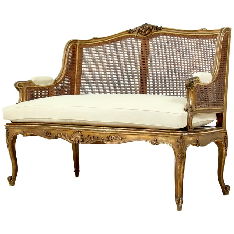 French Louis XV-Style Giltwood Settee For Sale