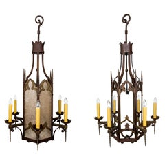 Large Bronze and Mica Antique Gothic Revival Lantern '2 Available'