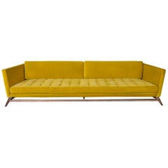 Eclipse Tufted Yellow Velvet Sofa with Walnut Legs by Atra