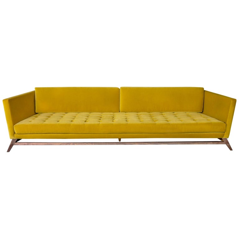 Eclipse Tufted Yellow Velvet Sofa with Walnut Legs by Atra For Sale