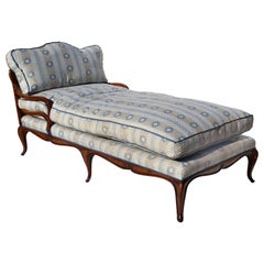 Overscale French Provincial Walnut Récamier with Goose Down Cushions