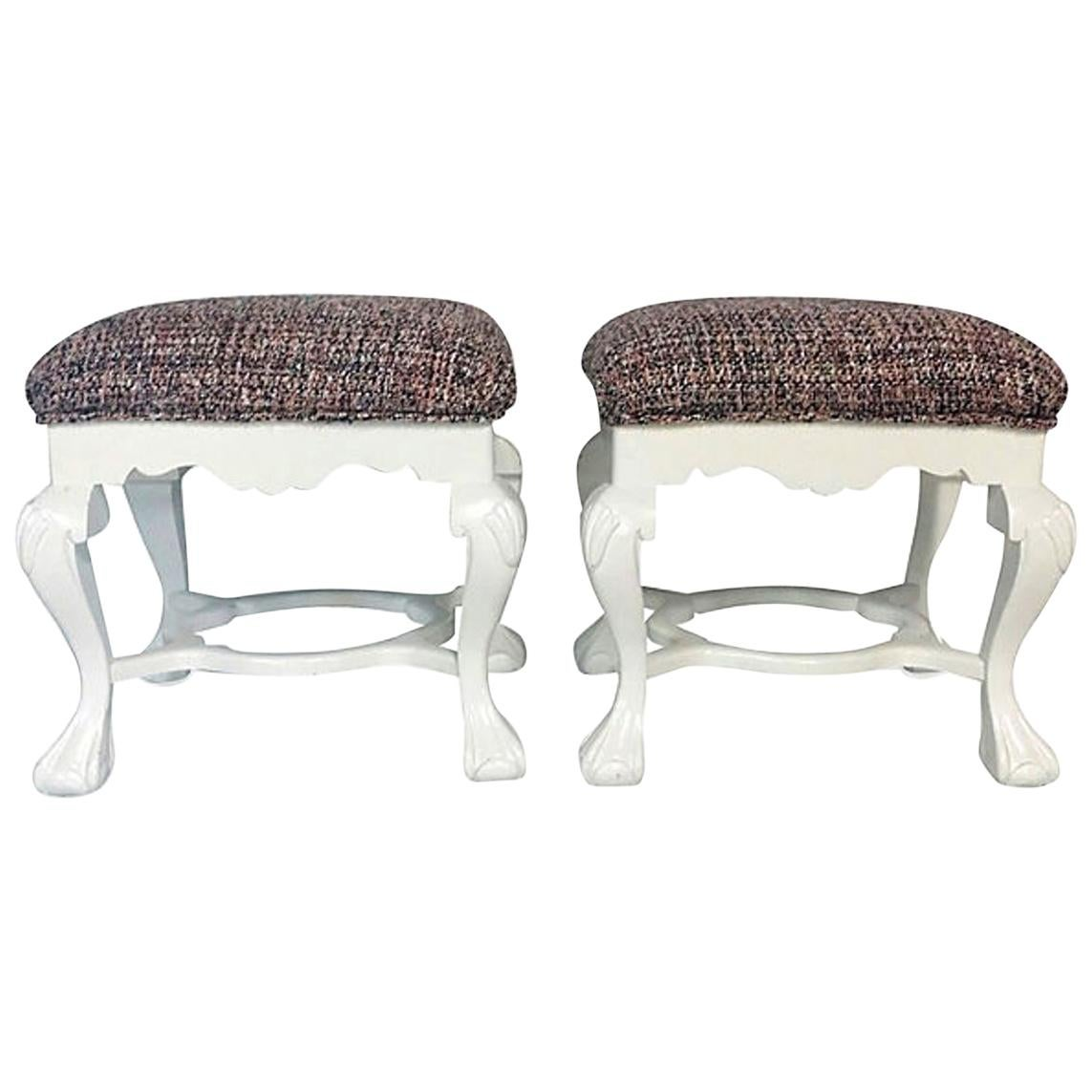 20th Century Pair of Queen Anne Style Mahogany Boucle Upholstered Benches