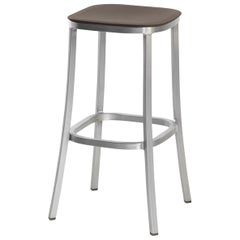 Emeco 1 Inch Barstool in Brushed Aluminum and Brown by Jasper Morrison