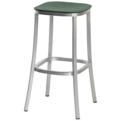 Emeco 1 Inch Barstool in Brushed Aluminum and Green by Jasper Morrison
