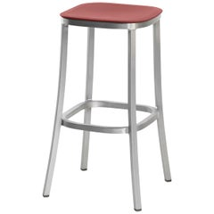 Emeco 1 Inch Barstool in Brushed Aluminum and Red Ochre by Jasper Morrison