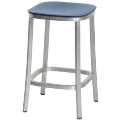 Emeco 1 Inch Counter Stool in Brushed Aluminium & Blue by Jasper Morrison