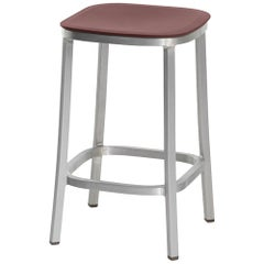 Emeco 1 Inch Counter Stool in Brushed Aluminum and Bordeaux by Jasper Morrison