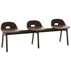Emeco Alfi 3-Seat Bench in Brown and Dark Ash with Low Back by Jasper Morrison