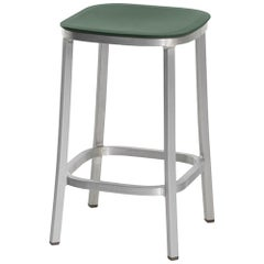 Emeco 1 Inch Counter Stool in Brushed Aluminum and Green by Jasper Morrison