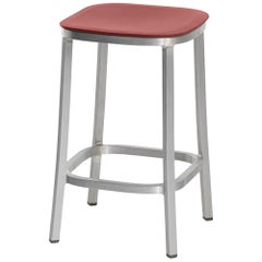 Emeco 1 Inch Counter Stool in Brushed Aluminium & Red Ochre by Jasper Morrison