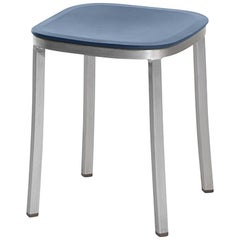 Emeco 1 Inch Small Stool in Brushed Aluminum and Blue by Jasper Morrison