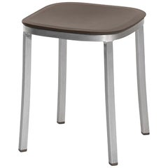 Emeco 1 Inch Small Stool in Brushed Aluminium & Brown by Jasper Morrison