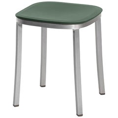 Emeco 1 Inch Small Stool in Brushed Aluminum and Green by Jasper Morrison