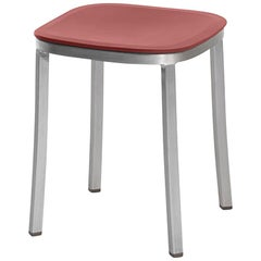 Emeco Small Stool in Brushed Aluminum & Red Ochre by Jasper Morrison