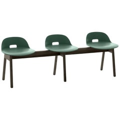 Emeco Alfi 3-Seat Bench in Green and Dark Ash with Low Back by Jasper Morrison