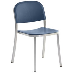 Emeco Stacking Chair in Brushed Aluminum & Blue by Jasper Morrison