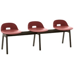 Emeco Alfi 3-Seat Bench in Red & Dark Ash W/ Low Back by Jasper Morrison