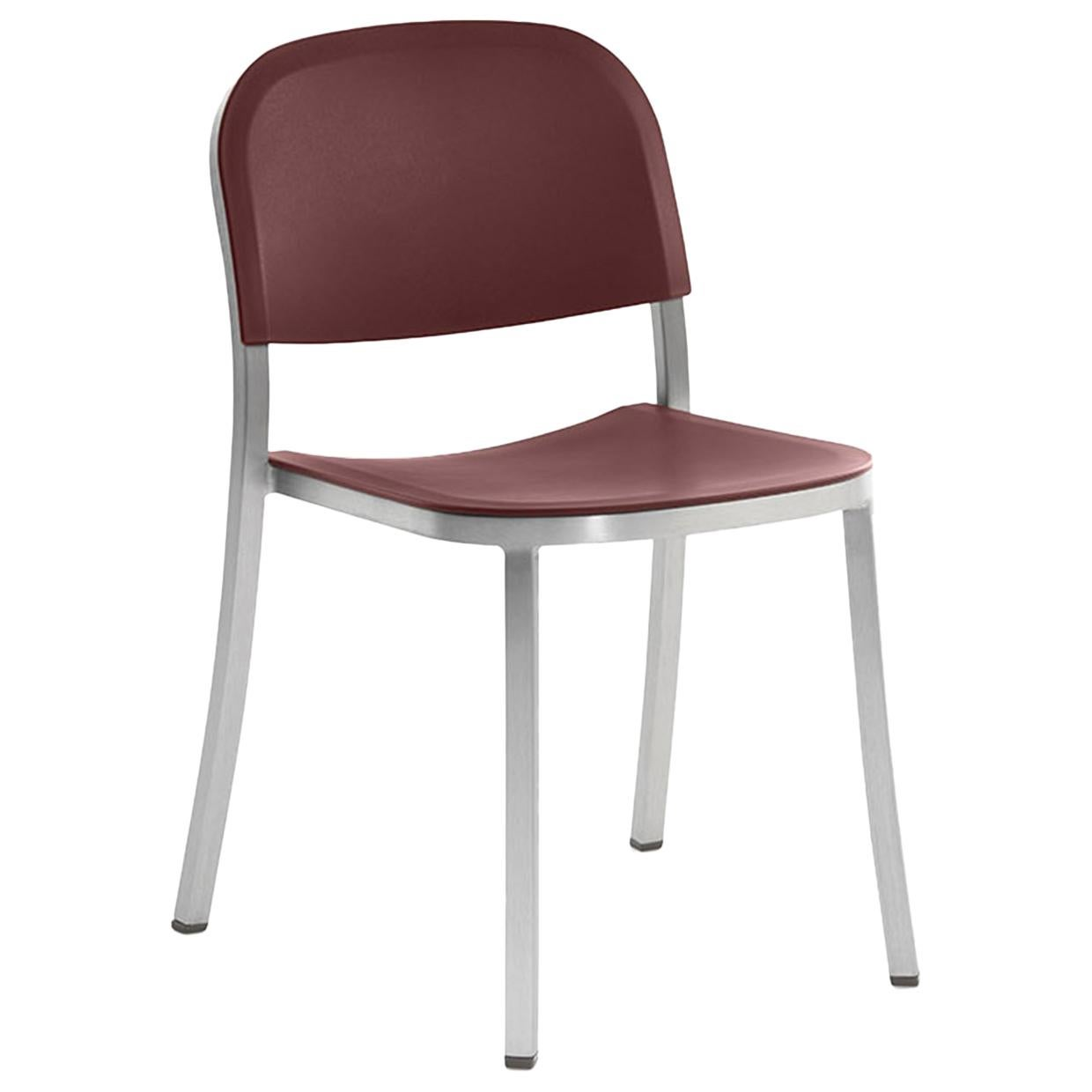 Emeco 1 Inch Stacking Chair in Brushed Aluminum and Bordeaux by Jasper Morrison