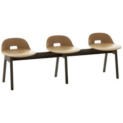 Emeco Alfi Three-Seat Bench in Sand & Dark Ash with Low Back by Jasper Morrison