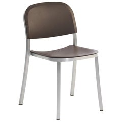Emeco 1 Inch Stacking Chair in Brushed Aluminum and Brown by Jasper Morrison