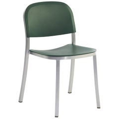 Emeco 1 Inch Stacking Chair in Brushed Aluminum and Green by Jasper Morrison