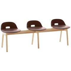 Emeco Alfi 3-Seat Bench in Brown and Ash with Low Back by Jasper Morrison