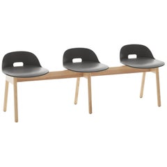 Emeco Alfi 3-Seat Bench in Gray and Ash with Low Back by Jasper Morrison