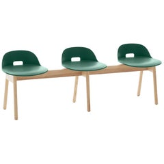 Emeco Alfi Three-Seat Bench in Green & Ash with Low Back by Jasper Morrison