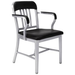 Emeco Navy Armchair in Brushed Aluminium with Bar Back by Us Navy
