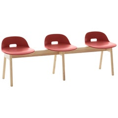 Emeco Alfi 3-Seat Bench in Red and Ash with Low Back by Jasper Morrison