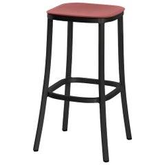 Emeco 1 Inch Barstool in Dark Aluminum and Red Ochre by Jasper Morrison