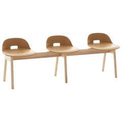 Emeco Alfi 3-Seat Bench in Sand and Ash with Low Back by Jasper Morrison