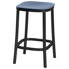Emeco 1 Inch Counter Stool in Dark Aluminum and Blue by Jasper Morrison