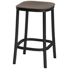Emeco 1 Inch Counter Stool in Dark Aluminum and Brown by Jasper Morrison