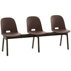 Emeco Alfi 3-Seat Bench in Brown & Dark Ash with High Back by Jasper Morrison