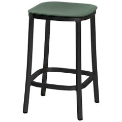 Emeco 1 Inch Counter Stool in Dark Aluminum and Green by Jasper Morrison