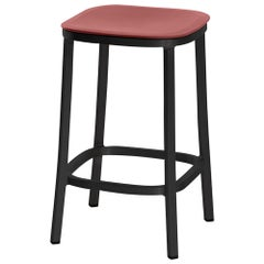 Emeco 1 Inch Counter Stool in Dark Aluminum and Red Ochre by Jasper Morrison