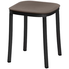Emeco 1 Inch Small Stool in Dark Aluminum and Brown by Jasper Morrison