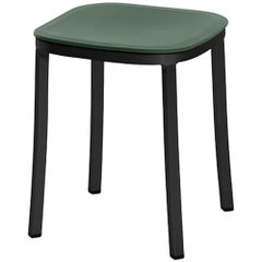 Emeco 1 Inch Small Stool in Dark Aluminum and Green by Jasper Morrison
