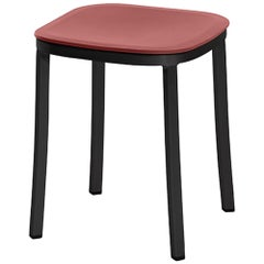 Emeco 1 Inch Small Stool in Dark Aluminum and Red Ochre by Jasper Morrison