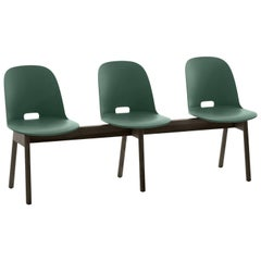 Emeco Alfi 3-Seat Bench in Green and Dark Ash with High Back by Jasper Morrison