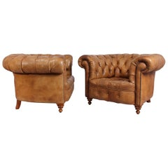 Pair of Tan Leather Chesterfield Club Chairs