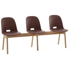 Emeco Alfi 3-Seat Bench in Brown and Ash with High Back by Jasper Morrison