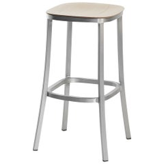 Emeco 1 Inch Barstool in Brushed Aluminum and Ash by Jasper Morrison