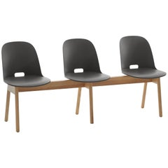 Emeco Alfi 3-Seat Bench in Gray and Ash with High Back by Jasper Morrison