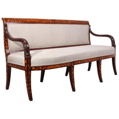 Antique Dutch Mahogany Marquetry Sofa, circa 1840