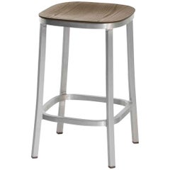 Emeco 1 Inch Counter Stool in Brushed Aluminum and Walnut by Jasper Morrison