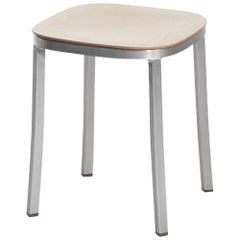 Emeco Small Stool in Brushed Aluminum & Ash by Jasper Morrison